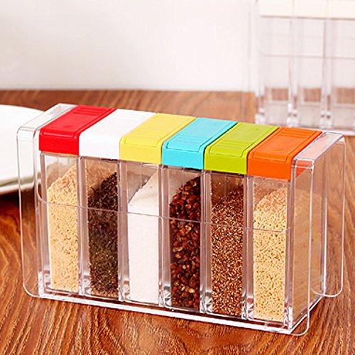 DecentGadget 6 Box Seasoning Bottle Spice Jar Home Kitchen Condiment Storage Pot Cruet Container with Tray Holder for Sugar Salt FlavouringColored