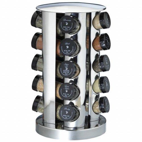 Kamenstein 20 Jar Filled Revolving Spice Rack Stainless Steel