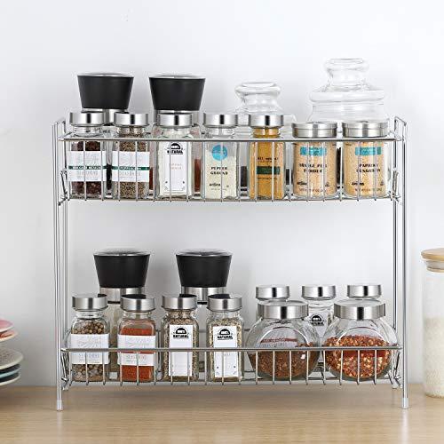 2-Tier Standing Rack Shelf Holder Spice Rack Countertop Storage Organizer for Kitchen Bathroom Office Silver