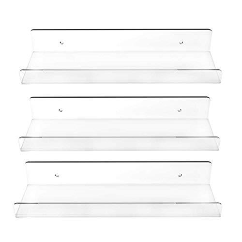 3 Pack Clear Floating Ledge Shelves - 15 Inch Invisible Acrylic Shelf Wall Bookshelf Bathroom Storage Display Organizer Spice Rack