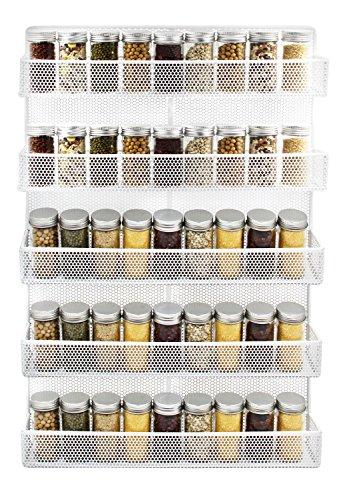 IZLIF 5 Tier Punching Wire Wall Mount Spice Rack Organizer Kitchen Spice Storage Shelf White
