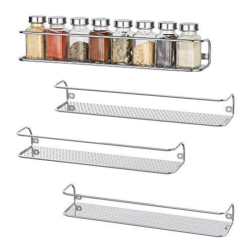 NEX 4 Pack Wall Mount Spice Racks Shelf Seasoning Storage Organizer for Kitchen Cabinet Cupboard Large Chrome