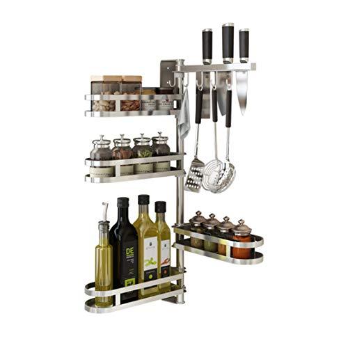 Rotating Spice-Rack Shelf Kitchen Corner-Organizer 4 Tiers with utensil hooks