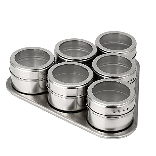 DAmeng Stainless Steel Magnetic Spice Storage Jar Tins Container With Rack Holder 6
