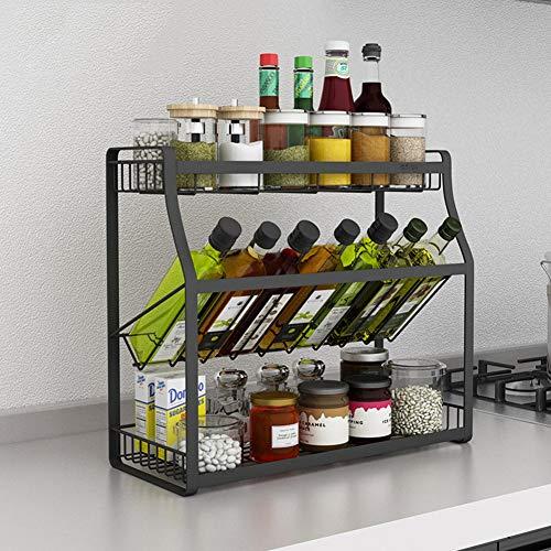 2-Tier 304 Stainless Steel Spice Rack Holder Storage Organiser Shelf Rack Kitchen Spice Jars Bottle Pantry Counter Top Or Free Standing