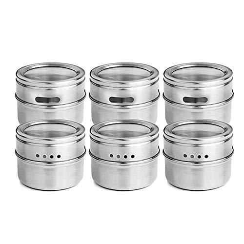 LANGING 6Pcs Magnetic Spice Jars Stainless Steel Spice Rack Magnet Fridge Spice Tin Organizer