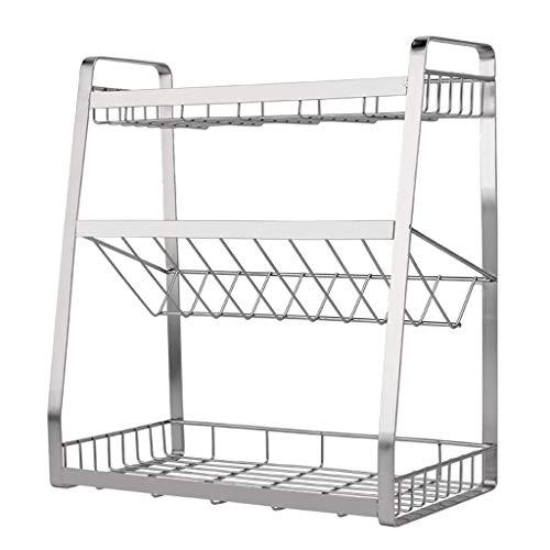 QVIVI 304 Stainless Steel Spice Rack Creative Non-Slip Kitchen Shelf 3-Tier Kitchen Shelves for Home Kitchen Organisation Storage