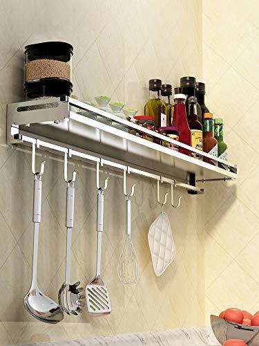 WYXIAN Wall Mounted Kitchen Shelf - 304 Stainless Steel Spice Rack With 5 Hooks Wall Shelf Fittings Bookshelf Size  100cm
