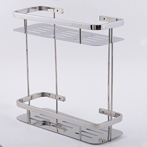 Stainless steel shelf racks double bathroom toilet kitchen spice storage shelves wall floor Double square