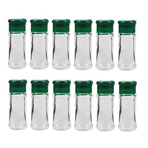 Hemoton 12pcs Glass Spice Bottles Seasoning Bottle Spice Pot Pepper Salt Jar Condiment Bottles for Storing and Dispensing SpicesGreen