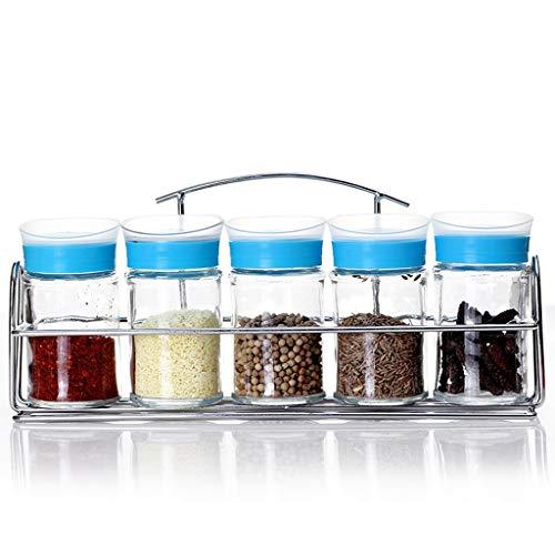 ZTMN Kitchen Supplies Glass Spices Bottles Set Color Seasoning Bottles Rotating Seasoning Box Barbecue Sauce Bottles Color  Blue