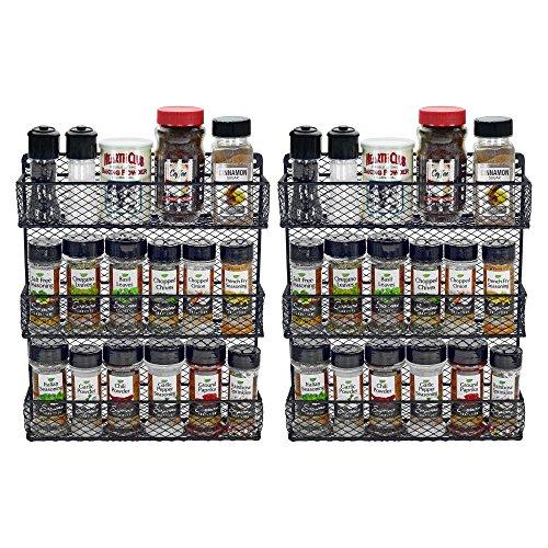 Wall Mount Spice Rack Kitchen Storage Shelf Holder 3 Tier Rack Includes 2 Racks Black