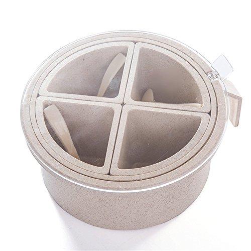 Yiliag Plastic Spice Jar Lids Pepper Seasoning Box Salt Storage Container Holder With Spoon-BeigeFour Grid