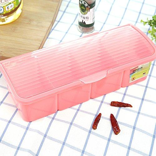 Lautechco Plastic Spice Jar Seasoning Box Case Clamshell Condiment With Spoon For Salt Lattice Fashion Modern Kitchen Accessory Pink