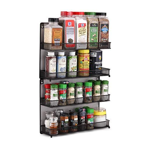 CAXXA 2 PK 2 Tier Mesh Kitchen Counter-top or Wall Mount Spice Rack Jars Storage Organizer Bronze