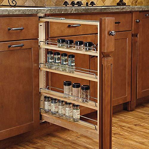 Rev-A-Shelf 3-Inch Base Cabinet Filler Pullout Kitchen Wooden Spice Rack Holder Shelves