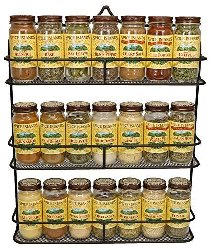 Clarabel 3 Tier Wall Mount Spice Rack Storage Organizer by KitchenEdge Holds 21 Spice Jars and Bottles Black