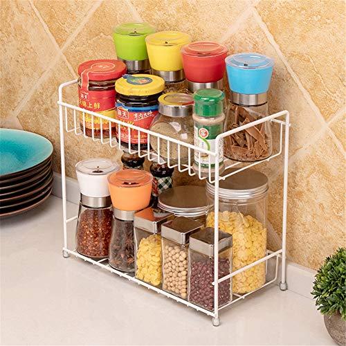 Countertop Spice Rack Storage Organizer Kitchen Seasoning Rack for Pantry Herb Jar Bottle Cans Holder Cabinet Shelf Storage