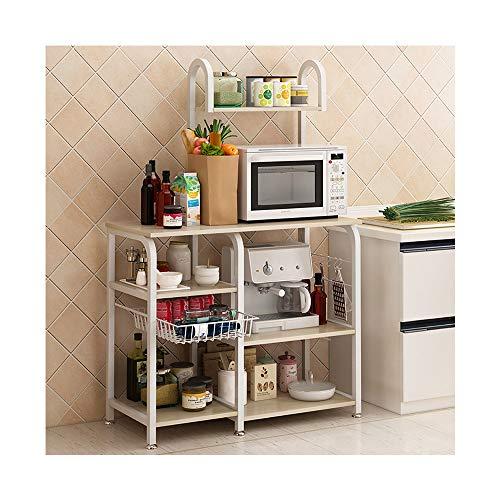 JAWM Kitchen Bakers Rack Utility Storage Shelf 355 Microwave Stand 4-Tier3-Tier Shelf For Spice Rack Organizer Workstation