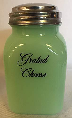 Jade Jadeite Jadite Green Square Stove Top Spice Shaker Jar - Grated Cheese - Mosser Glass - USA