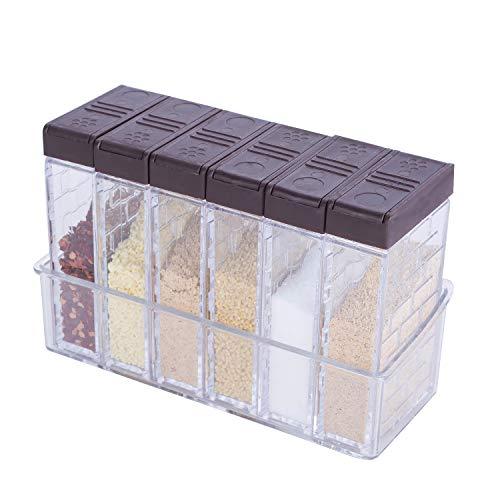 KaryHome Spice Shaker Jars Seasoning Shaker Box Condiment Set Seasoning Storage ContainersBrown