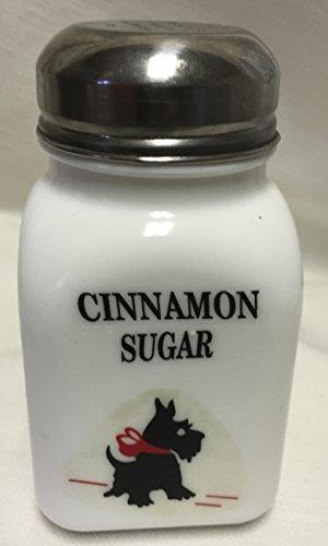 Square Stove Top Spice Shaker Jar wRed Bow Scottie Scotty Dog - Mosser Rosso - USA - Milk Glass Cinnamon Sugar Block