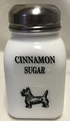 Square Stove Top Spice Shaker Jar wScottie Scotty Dog - Mosser Rosso - USA - Milk Glass Cinnamon Sugar Block