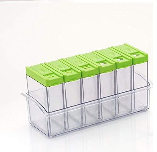 WhopperIndia Set of 6 Spice Shaker Jars Seasoning Box Plastic Spice Jars Dispenser Masala Rack Easy Flow Storage Transparent Seasoning Box