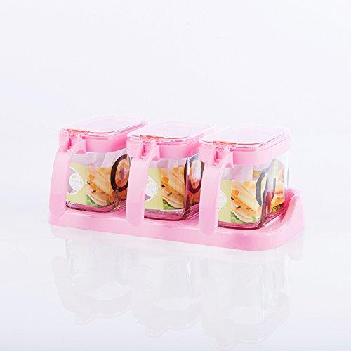 CLG-FLY Damp continental kitchen Spice jar round cruet creative season sealed square glass box set3