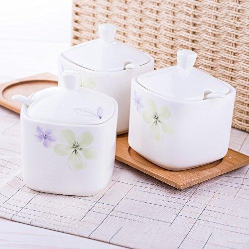CLG-FLY Seasoning box kitchen Spice jar set bone China ceramic salt sugar spice jars set jar