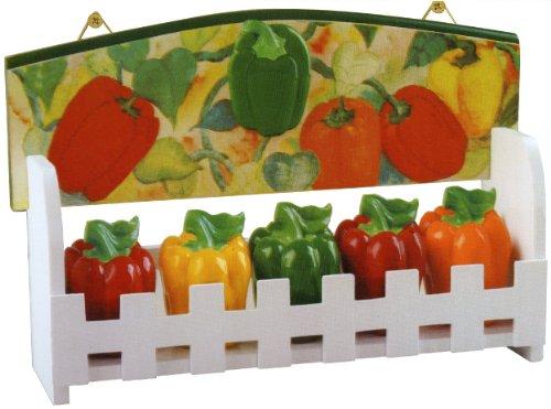 KKM Bell Pepper Ceramic Kitchen Spice Jar Set Decorative Wood Wall Standing Rack 3112 - 5 Piece Set