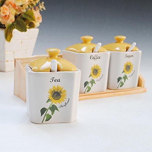 Modern spice bottles three-piece Spice jar Sunflower cruet daily kitchen Spice jar-A