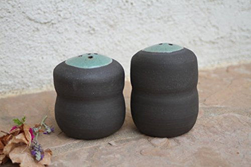 Black Clay Salt and Pepper Shaker handmade ceramic salt cellar spice jar kitchen container rustic modern farmhouse pottery