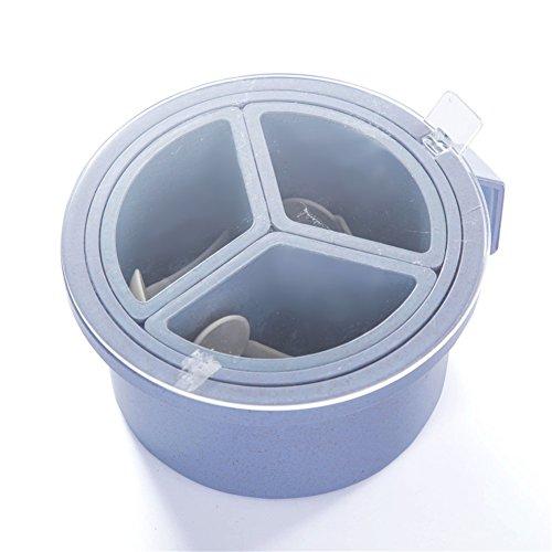 Yiliag Plastic Spice Jar Lids Pepper Seasoning Box Salt Storage Container Holder With Spoon-BlueThree Grid