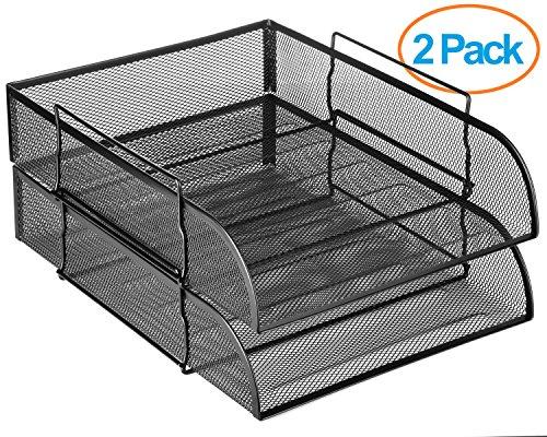 Halter Steel Mesh Horizontal File Paper Tray Desk Organizer - 1325 X 10 X 275 - 2 Pack