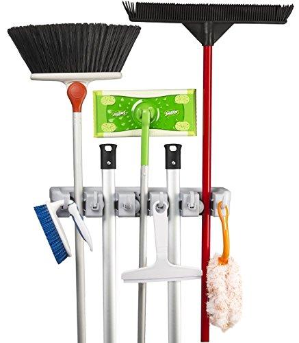 Mop and Broom Holder Kingtop Garage Storage Rack Hooks Wall Mounted Organizer for Home Garden Tool Shelving 5 position 6 hooks