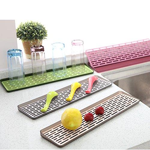 2 Tiers Plastic Small Dish Drainer Rack Drain Board Dish Drying Racks Drainboard Set for Kitchen Countertop Sink Draining GJ03 Random Color -Green Gray Rose Coffee