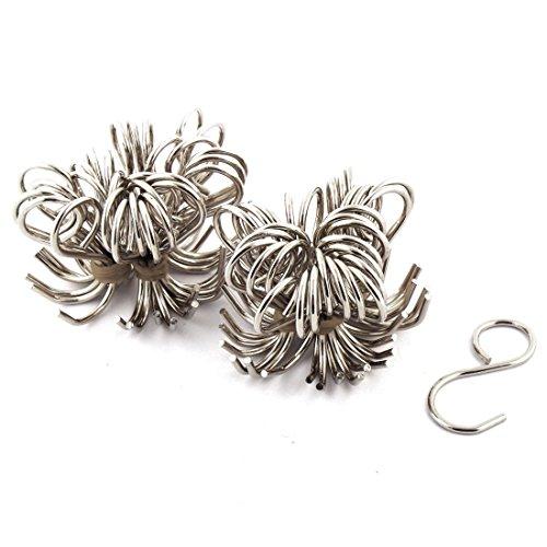 uxcell Metal S Shape Household Bathroom Kitchen Hanger Hook 60 Pcs Silver Tone