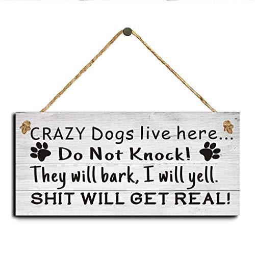 MelysUS Wood Dog House Door Hanging Plates Dog Signs Gift Home Decoration Floating Shelves