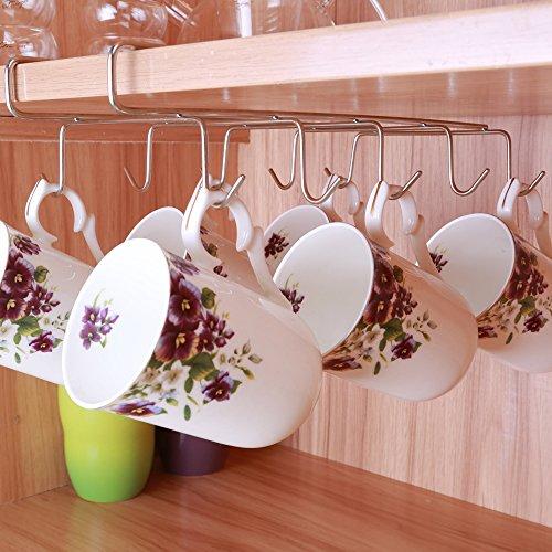 10 Hook Mug Holder Under Shelf Mug Hooks Mug Rack Hanger Coffee Cup Holder Drying Rack for Kitchen Hanging Organizer-Cabinet Hanging Tie Belt Organizer Rack