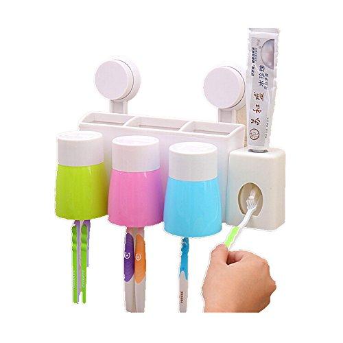 BanpaWall-Suction Creative Toothbrush Holder Cup HangerToothpaste Dispenser Bathroom Storage Organizer Set