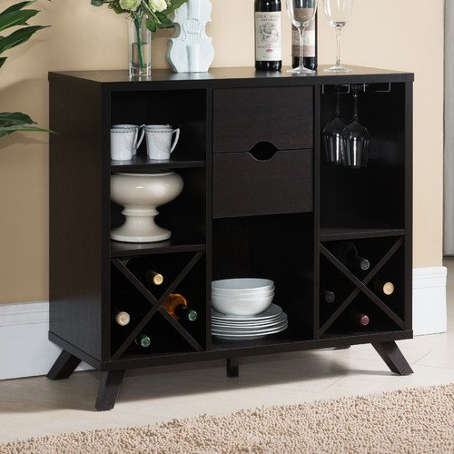 Bode Dining Room Buffet Server with 4 Shelves2 Drawer2 Hanging Stemware Racks and X-panel Shelves Hold Standard Size Wine Bottles Also Its Made with MDF and Wood Veneers in Black