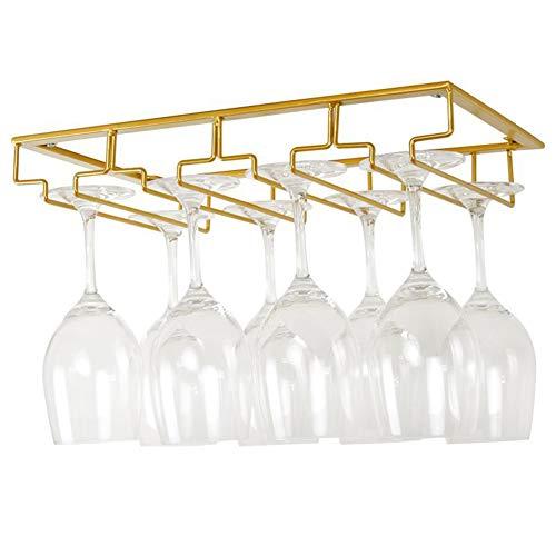 Debuy Wine Glasses Rack Under Cabinet Stemware Rack Wine Glass Hanger Racks Wire Glass Holder Gold4 Row