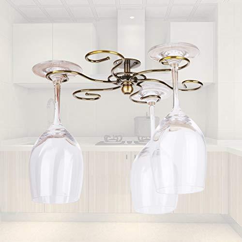 Fvstar Revolving Wine Glass Holder Under Cabinet 360 Degree Spinning Stemware Drying Rack Metal Wine Glass Organizer Glasses Storage Hanger with 6 Hooks for Bar Kitchen Bronze