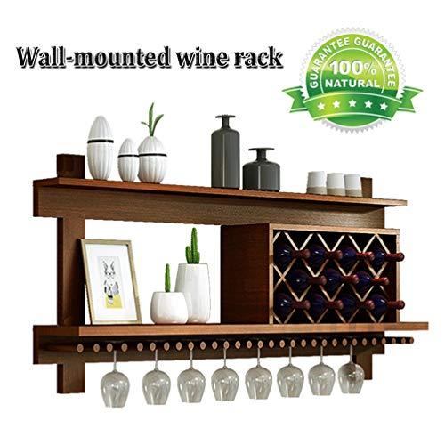 Wooden Wall-Mounted Wine Glass Hanger Wine Rack with Shelf and Wine Glass Holder Frame Creative Decoration Floating Rack Wine Bottle Holder Wine Bottle Rack Color  Brown