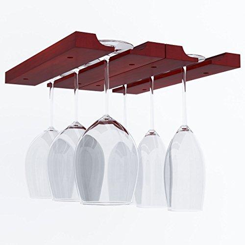 Hanging Under Cabinet Stemware Wine Glass Holder Rack  Adjustable  Mahogany Wood