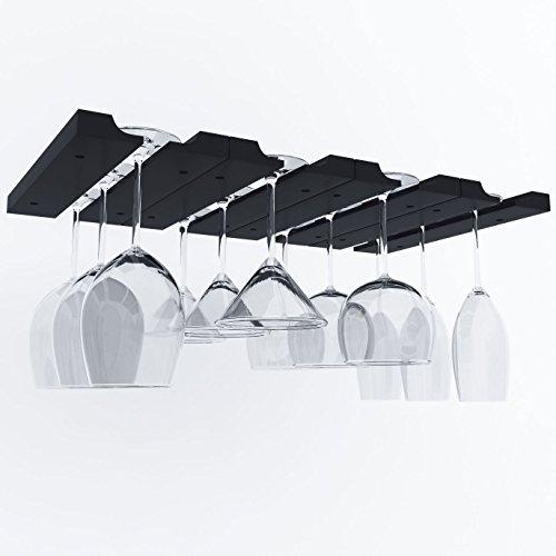 Hanging Under Cabinet Stemware Wine Glass Holder Rack  Adjustable Stemware Glass Storage Wood  Pack of 2 Black