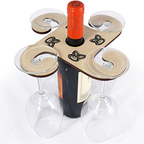 Abstract Flower Wooden Wine Glass  Bottle Holder GH00029416