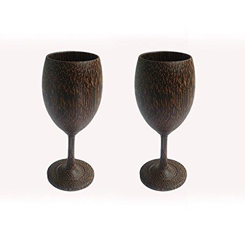 2 X Wine Glass Palm Wood Wooden Wine Glasses