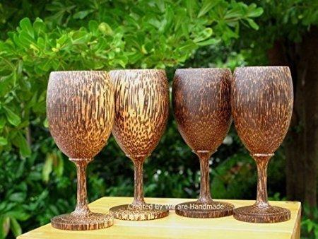 Set 4 Handmade Wooden Wine Glass Glasses Palm Wood - A